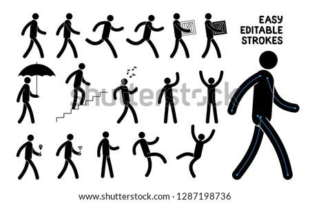 Easily editable pictogram man. Saved stroke. Set of basic poses icons people.