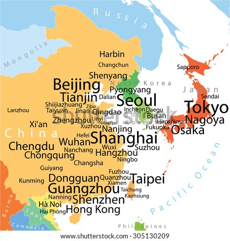 east asia vector map with largest cities carefully scaled text by city population geographically