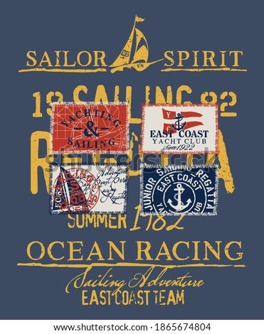 East coast sailing regatta yacht club vector print for children wear with applique textile yachting  labels