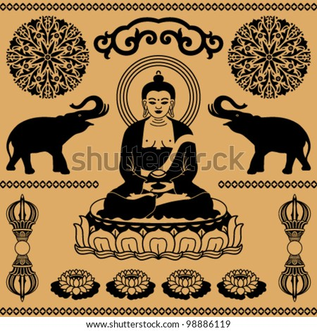 East ornament of elephants, decorative floral elements and statues of Buddha on a beige background
