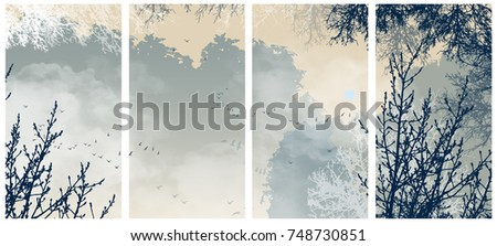 east style vector landscape