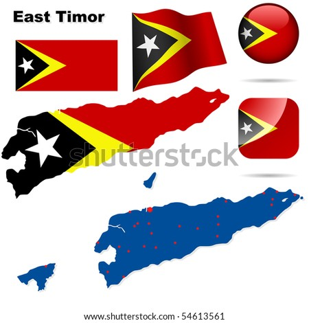 East Timor vector set. Detailed country shape, flags and icons isolated on white background.