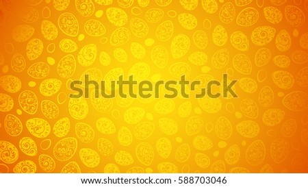 Easter background of Easter eggs with ornaments of curls in orange colors
