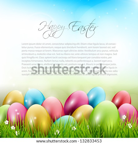 Easter background with colorful eggs in grass