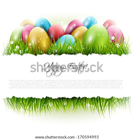 easter background with eggs in