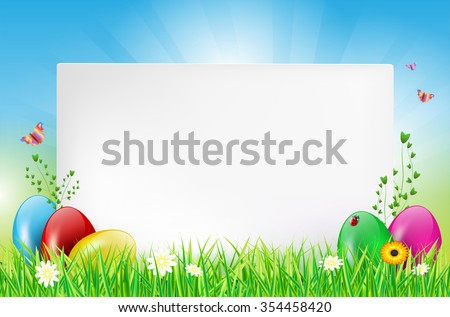 Easter Background With Paper Card Eggs Grass Ladybug Butterflies And Flowers