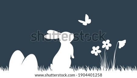 Easter Background with silhouette bunny and butterfly. Simple hand drawn easter horizontal background.