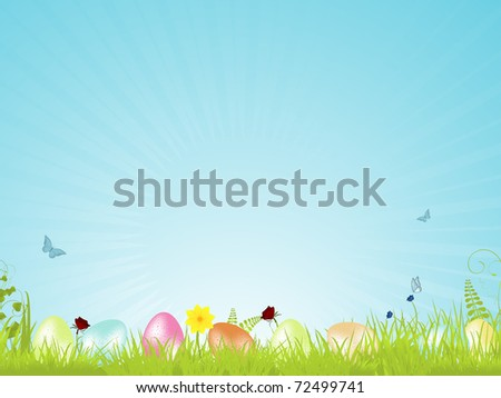 Easter background with speckled easter eggs on a spring landscape