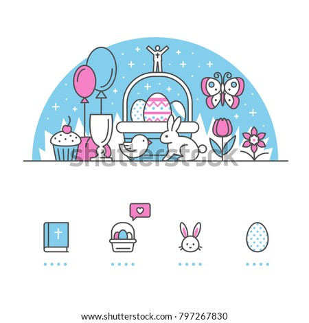 Easter banner and icons with White Background
