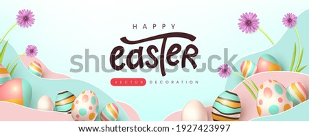Easter banner background template with colorful eggs. Traditional colored easter eggs with different ornaments.
