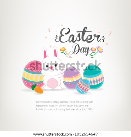 Easter banner background template with white bunny, spring flowers and colorful eggs. Vector illustration. #1032654649