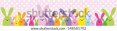 Easter banner. Easter bunny family. Design element.