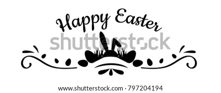 Easter banner with silhouettes of eggs, rabbit, grass. Design element isolated on white background. Illustration can used for banners, cards, letters and other