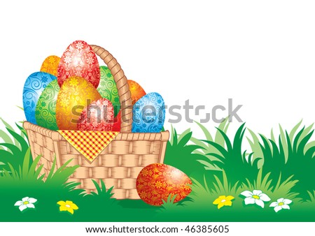 Easter banner with spring flowers and painted eggs. Vector.
