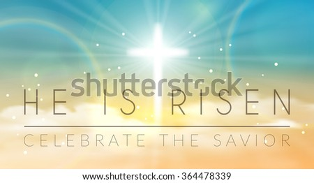 easter banner with text 'he is