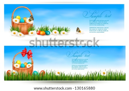 easter banners with easter eggs