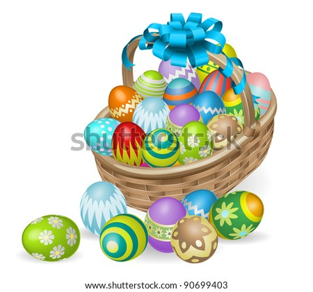 Easter basket of colourful painted Easter eggs with blue bow