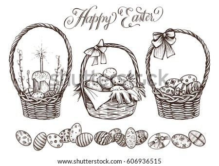 easter basket set. hand drawn...