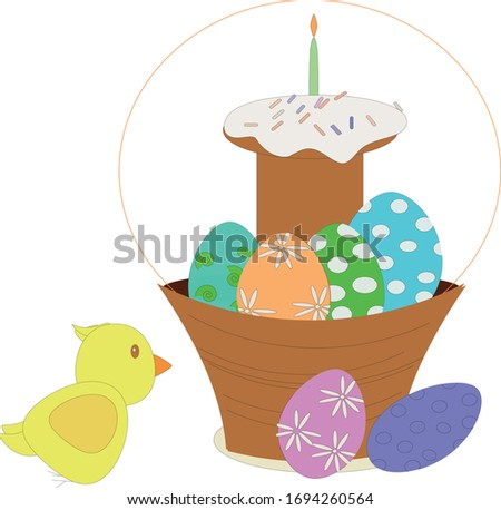 Easter basket with eggs and Easter cake