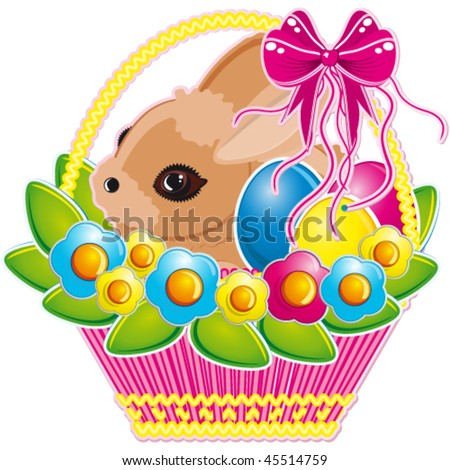Easter basket with pink bow and a cute bunny