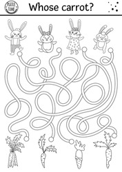 Easter black and white maze for children with bunny family and carrots. Holiday outline preschool printable activity with rabbits and vegetables. Funny spring garden game or coloring page