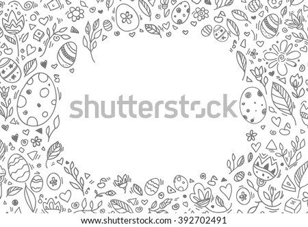 easter border  eggs  floral