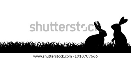 Easter Border With Rabbit And Grass, Vector Illustration
