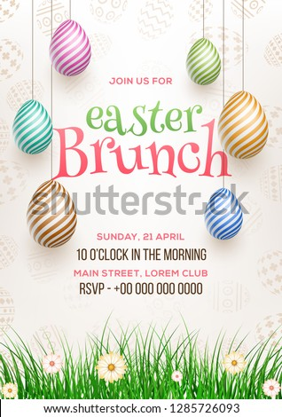 Easter Brunch invitation card design, illustration of colourful easter eggs with time, date and venue details.