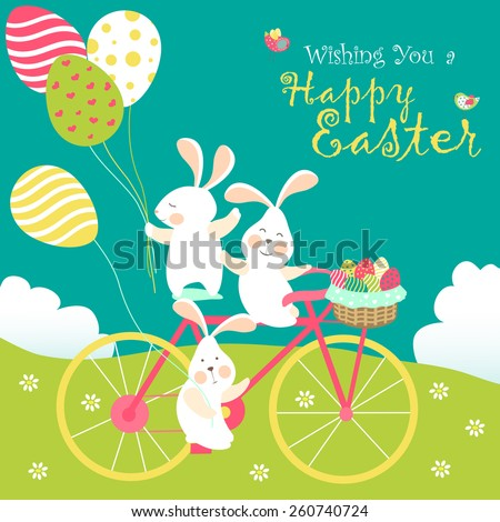 easter bunnies and easter eggs