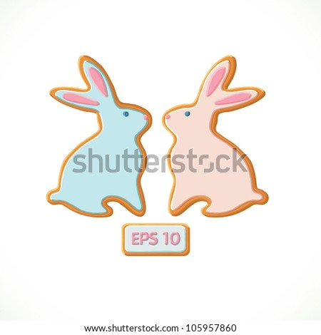 Easter bunnies cookie set