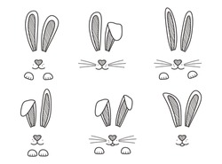 Easter bunnies hand drawn, face of rabbits. Black and white ears and muzzle with whiskers, paws. Elements for design greeting cards. Vector illustration