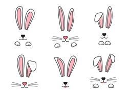 Easter bunnies hand drawn, face of rabbits. Ears and muzzle with whiskers, paws. Elements for design greeting cards. Vector illustration
