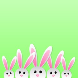 Easter bunnies on green background with copyspace. Vector illustration.