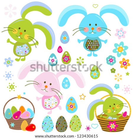 easter bunnies set