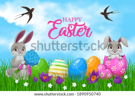 easter bunnies with eggs and