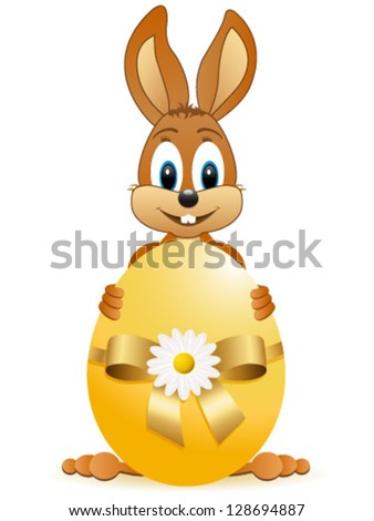 easter bunny and easter egg - vector illustration