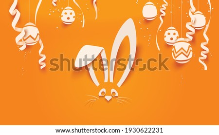 Easter Bunny card in paper cut style with eggs and confetti for seasonal Easter holidays greetings and invitations cards, vector illustration