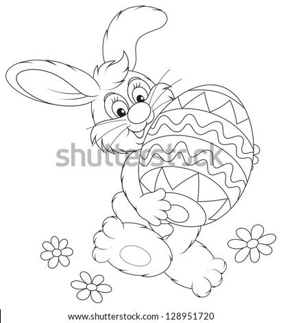 Easter Bunny carrying a decorated Easter egg black and white outline illustration for a coloring book