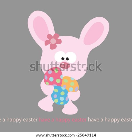 Easter Bunny carrying 3 eggs (with removable text) (more in portfolio)