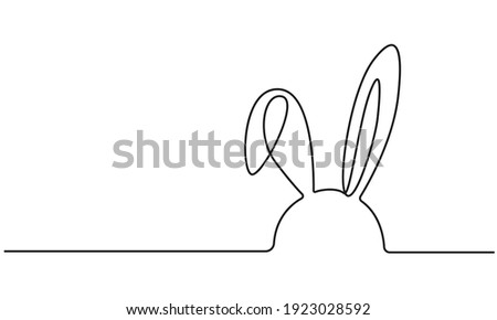 Easter Bunny Continuous One Line Drawing. Easter Card Line Art Style with Rabbit . Bunny Minimalist Contour Illustration for Spring Design. Vector EPS 10.