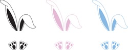 Easter Bunny Ears Vector Illustration. Bunny ears and feet isolated on white background
