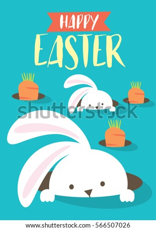 easter bunny egg hunt template vector/illustration