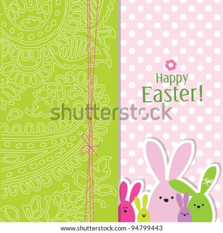 easter bunny eggs - easter background card