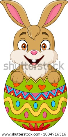 Easter bunny hatched from an egg