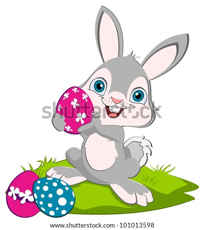 Easter Bunny holding a pink egg and smiling, two eggs on the ground. - stock vector