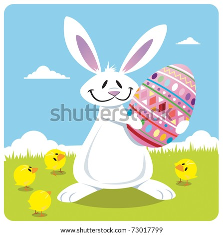 Easter bunny holding Easter egg with four baby chicks