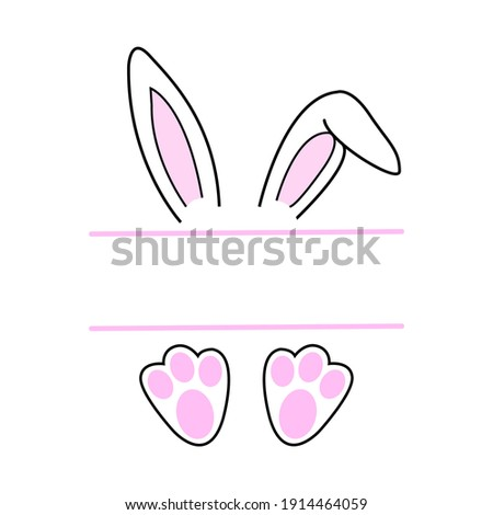 Easter bunny in beautiful style on white background, hand drawn face of bunny. Greeting card with Happy Easter writing. Ears and tiny muzzle with whiskers. Stock photo ©