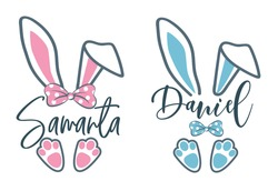Easter bunny name plate design. Boy and girl frame vector design. Easter bunny split cut file. First Easter for baby. Clipart for personal invitations.