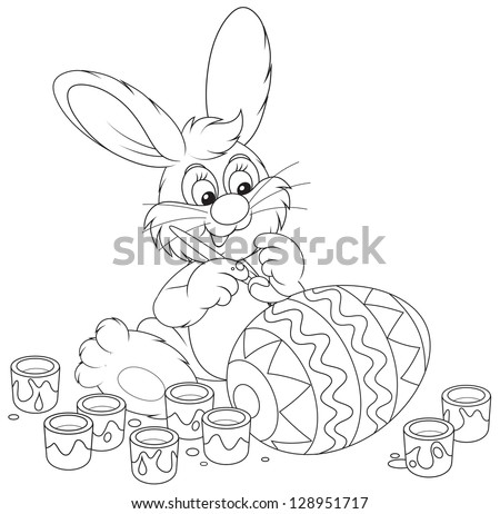 Easter Bunny painting a big egg