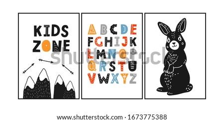 Easter bunny poster. Spring landscape with mountains. Baby shower font. Scandinavian children room triple poster. Kids zone alphabet. Nursery wall art. Rabbit hand drawn illustration.